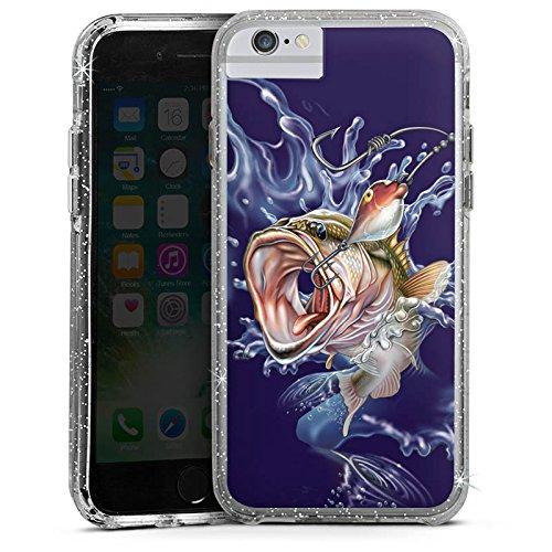 Apple iPhone 6s Bumper Hülle Bumper Case Glitzer Hülle Fisch Angeln Bumper Case Glitzer silber