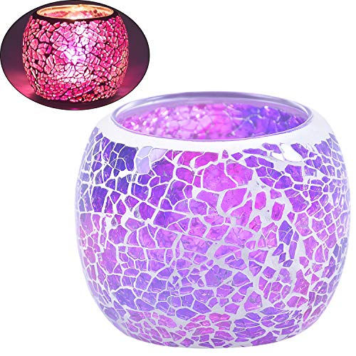 Sasiki Candle Holder/Mosaic Handmade Glass Votive Tealight Candle Lamps Handlestick Artwork for Home/Valentine Décor Christmas Wedding Party Gift (6)
