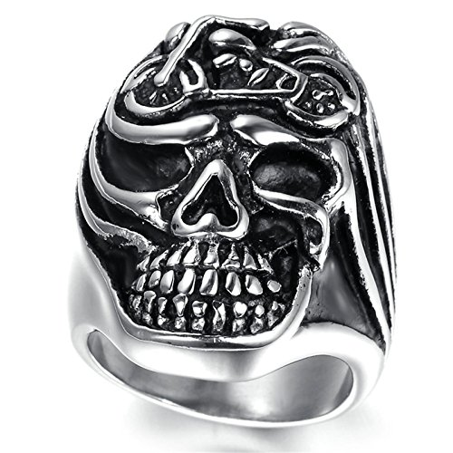 Adisaer Edelstahl Ring Herren Punk Ringe Silber Schädel Kopf mit Motorrad Ring Größe 65 (20.7) für Männer Gothic Bandring Hip Hop (Männer, Für Hip-hop-ringe Crown)