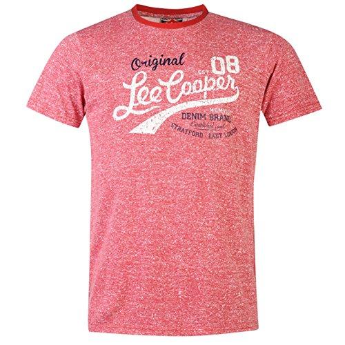 Lee Cooper da uomo con Maglietta estiva a maniche corte girocollo casual t-shirt top Vintage Rot X-Large