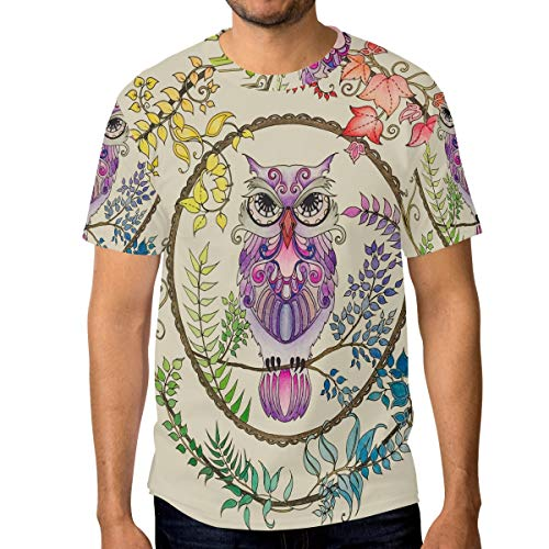 DEZIRO - Camiseta de Manga Corta para Hombre, diseño de búho atrapasueños 1 L
