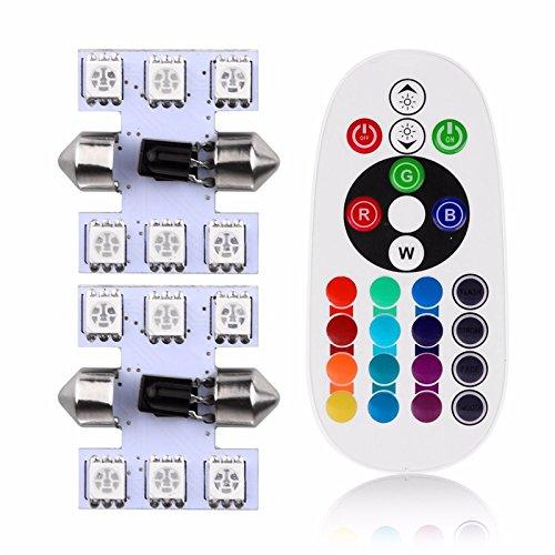 Zantec 6LED Ampoule Lampe 31mm 5050SMD pour auto DC 12V Auto Intérieur lamps Lot de 2pcs télécommande LED RGB de voiture dôme lampe de lecture