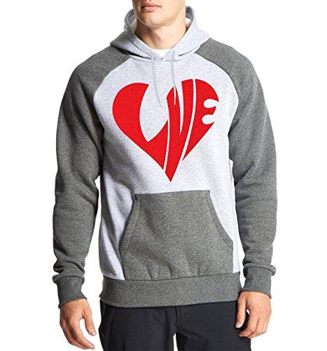 Fanideaz Cotton Full Sleeves Love Tees Valetine Gift Raglan Hoodies for Men Premium Sweatshirt_Charcoal Melange_XL