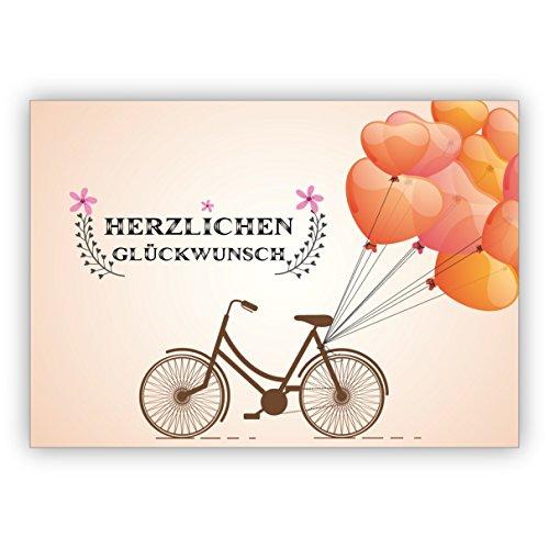 Wunderschöne Geburtstagskarte mit Fahrrad und vielen Luftballons:Herzlichen Glückwunsch