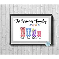 Printable Personalised Family Welly Boot Print Surname Wellington Home Kids Pets Print For The Home Perfect for Mothers Day