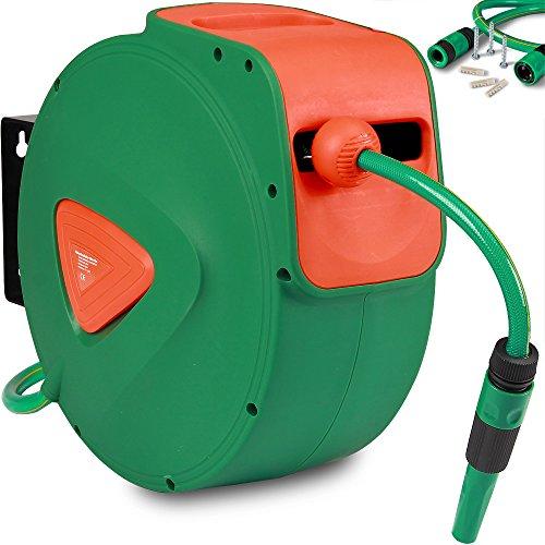 Schlauchaufroller Schlauchtrommel Wasserschlauchtrommel automatischer Aufroller inkl. 20m Schlauch und Halterung