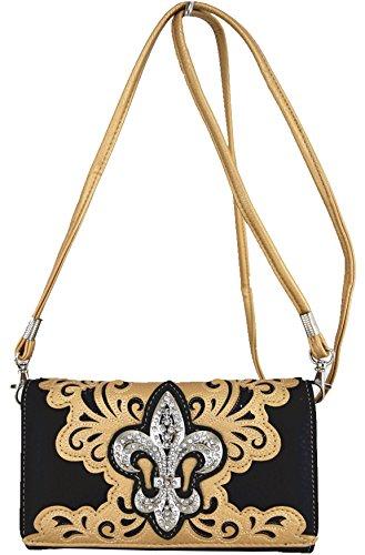 Blancho Biancheria da letto delle donne in pelle [creativo Lace] PU borsa elegante di modo Borsa oro Wallet-Oro