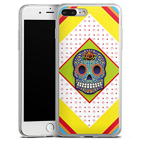 Apple iPhone 8 Plus Slim Case Silikon Hülle Schutzhülle Skull Bunt Abstrakt Silikon Slim Case transparent