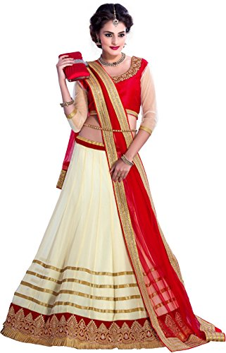 Seller King Women\'s Net Lehenga Choli(5_Off white and Red_Free Size)