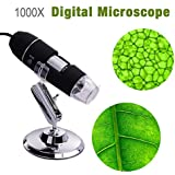 Microware 1000X 2MP 8 LED USB Portable Digital Microscope + Dermascope + Endoscope Zoom Camera Magnifier + Stand