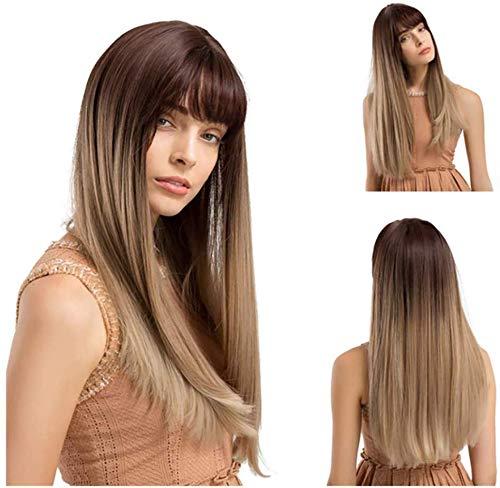 Wghz Lange gerade Perücken Mixed Gold Synthetict Perücken mit Pony für weiße Frauen Highlight Farbe hitzebeständige Faser -