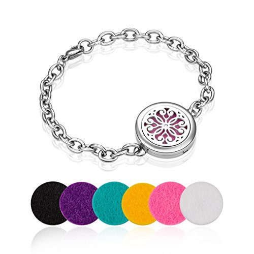 weeno-aromatherapy-essential-oil-diffuser-locket-bracelet-6-felt-padschrysanthemum-pattern
