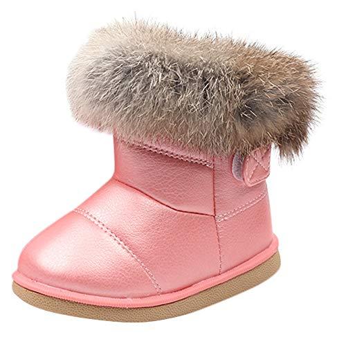 Eliasan Kinder Baby Bootie Jungen Mädchen Leder Winter Bootie Warme Schneeschuhe Stiefel Kleinkind Lauflernschuhe Freizeitschuhe Babyschuhe (12-18Monate, Rosa)