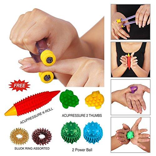 Super India Store Finger Care Massager-Acupressure Massage Sujok Rings Power Balls-Power Thumbs-Reflexology Chart for Hand/Feet