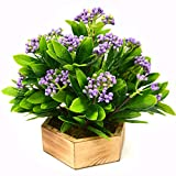 #8: FancyMart Artificial Beads Leaves Plant in Wood Hexagun Pot(Height 21 cms / 8.5 inchs)