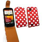 Emartbuy ® Htc Desire X Premium Pu Leder Flip Case / Cover / Tasche Polka Dots Rot / Weiß Und Lcd Screen Protector