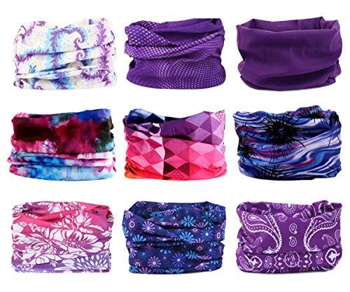 Soxtome 6 pezzi multiuso fascia bandana elastica scaldacollo foulard protezione uv per ciclismo biker sport all'aria aperta (serie 7 (9pezzi), taglia unica)