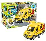 Revell 814 Paketdienst-Fahrzeug mit Spielfigur Der Bausatz mit dem Schraubsystem für Kinder ab 4 Jahre, Bauen-Schrauben-Spielen, mit tollen Funktionen, gelb, Länge ca. 26 cm