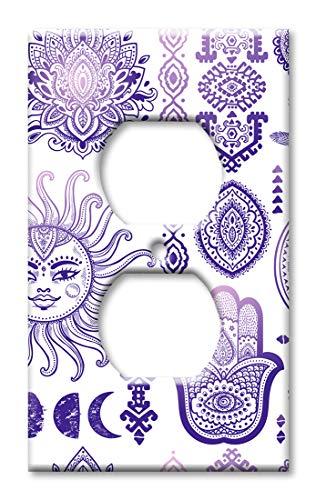 Wandplatte/Schalterplatte, Motiv Sonne und Mond, Violett Steckdose Mehrfarbig -