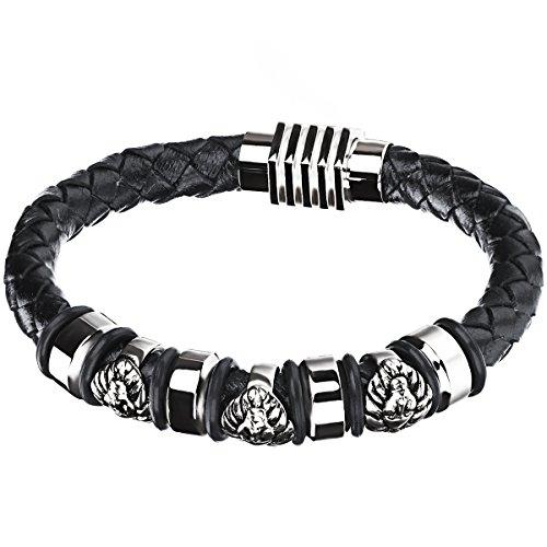 JewelryWe Schmuck Herren Armband, Retro Klassiker ägyptischen Pharaos Ringe Armreif, Leder Edelstahl, Schwarz Silber