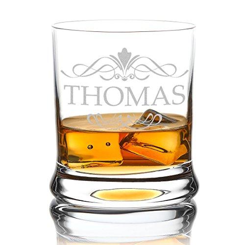 polar-effekt Leonardo Whiskyglas Personalisiert 350 ml - Tumbler für Whiskey, Scotch und Co - Männer-Geschenk mit Gravur Name - Motiv Ornament