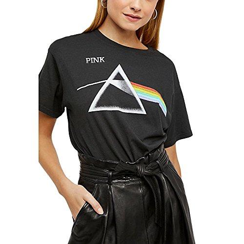 Sommer Rosa T Shirts Damen Schwarz Tumblr Basic Retro Baumwolle Oberteile Frauen (Schwarz, Medium)