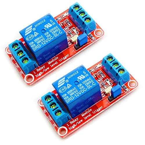 HiLetgo 2pcs 12V 1 Channel Relay Module Relay Switch With Optocoupler Isolation Support High or Low Level T