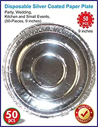 Disposable Silver Coated Paper Plate for Party, Wedding, Kitchen and Small Events, (50-Pieces, 9 inches)