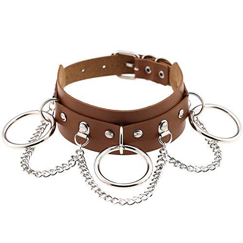 soweilan Damen Choker Halskette, Leder Schwarz Einstellbar Lange Ketten Kragen Halsband, Gotik Punk...