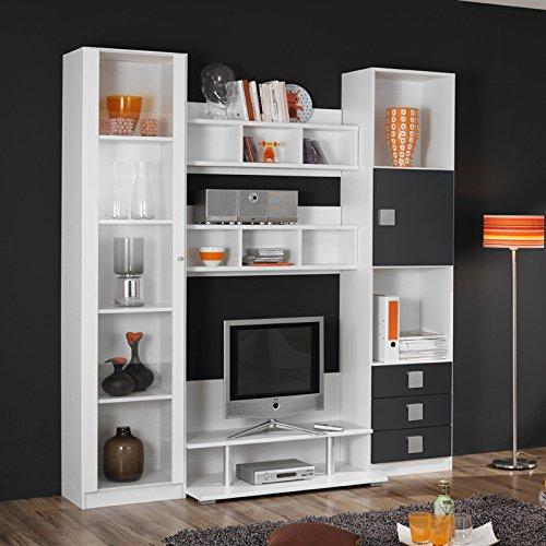 Jugendzimmer Wohnwand »SKATO221« grau-metallic, alpinweiß