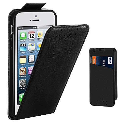 one 5S Hülle, Supad Leder Tasche für Apple iPhone 5 5S SE Handyhülle Flip Case Schutzhülle (Schwarz) ()