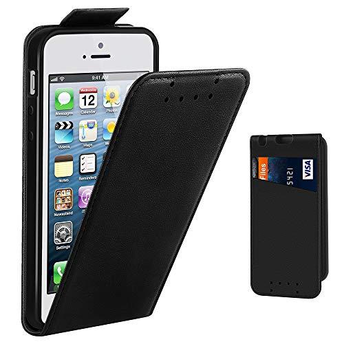 iPhone 5 Hülle, iPhone 5S Hülle, Supad Leder Tasche für Apple iPhone 5 5S SE Handyhülle Flip Case Schutzhülle (Schwarz)