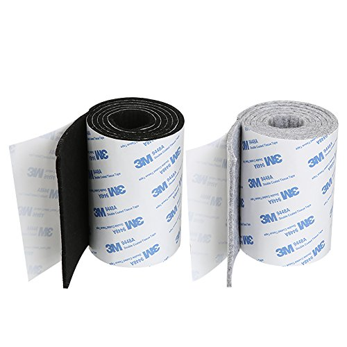 Shintop 2 x Filzband Selbstklebend, Heavy Duty Filz Strip Rolle DIY Möbelgleiter Bodenschutz 100 x 10 cm (Schwarz + Grau)