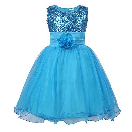JerrisApparel Kleines Mädchen Paillette Blume Hochzeit Bankett Party Kind Kleid (6 Jahren, Blau) -