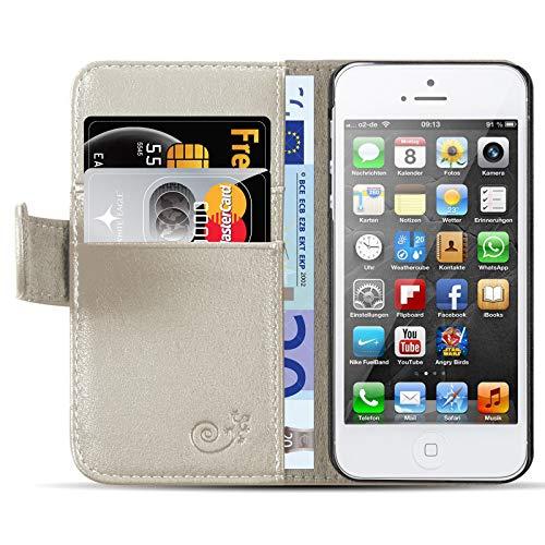 JAMMYLIZARD Lederhülle für iPhone 6 / 6s | Ledertasche [ Classic Wallet Tasche Series ] Schimmer Leder Book Case Hülle Flip Cover Schutzhülle mit Kartenfach, Champagner