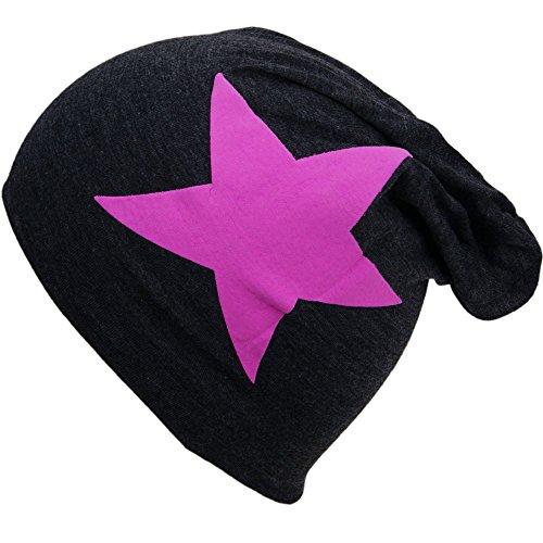 Kinderbeanie Jersey Long Slouch Beanie Mütze weich und warm Strickmütze Herbst Winter Süß Trend 2017 in verschiedenen Farben und mit Sternen (KAnthrazit Pink Stern)