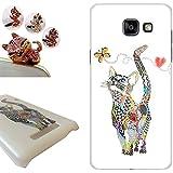 Coque Samsung Galaxy A5 2016, LovelyC (Chat attraper papillons) PC Plastique Housse Etui hard Case Cover pour Samsung Galaxy A5 2016 (5.2 inches) +1x Bouchons de poussière