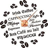 Wandtattoo Uhr Wanduhr mit Uhrwerk für Küche Kaffeespezialitäten Kaffee Sprachen (Uhr Kupfer//080 braun)