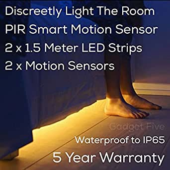 2 x 1.5 Meter strips & 2 x Motion Sensors - Motion Sensor Activated Under The Bed LED Strip Light Also For Cabinets & Living Room – 5 Year Warranty - LIMITED OFFER!