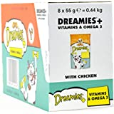 8 x 55g Dreamies Cat Treats With Chicken Plus Vitamins and Omega3 - Bulk Pack