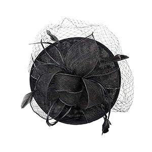 B Baosity Damen Feder Fascinator Haarreif Blume Schleier Haarband Stirnband Haarschmuck Hochzeit Kopfschmuck