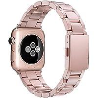 Simpeak para Correa Apple Watch Series 3 / Series 4 / Series 2 / Series 1 Correa 38mm de Acero Inoxidable Reemplazo de Banda de la Muñeca con Metal Corchete para Apple Watch Todos los Modelos 38mm,Oro Rosa