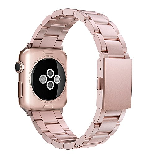 Simpeak para Correa Apple Watch Series 3 / Series 4 / Series 2 / Series 1 Correa 38mm de Acero Inoxidable Reemplazo de Banda de la Muñeca con Metal Corchete para Apple Watch Todos los Modelos 38mm,Oro Rosa