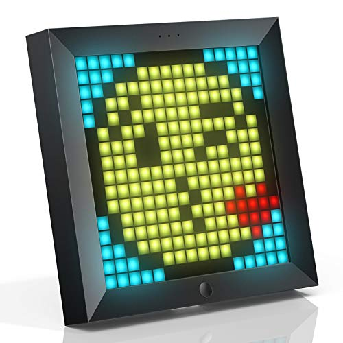 Divoom Pixoo Pixel Art Digitaler Rahmen, Programmierbares 16*16 RGB LED Panel, Smart Clock mit Social Media Benachrichtigung, 7.18 Zoll Home Dekor Kalender Uhr für iOS & Android (Schwarz)