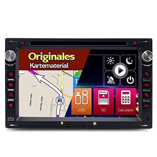 A-Sure 7 Zoll Doppel 2 Din Autoradio Navi DVD GPS Bluetooth FM Radio RDS Für VW Passat B5 BORA Golf 4 T4 T5 Transporter MK4 MK5 POLO Sharan LUPO original Kartematerial (49 europäische Länder)W4W5Q 2-Jahre-Garantie