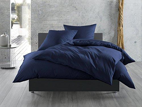 Mako-Satin Seitenschläferkissen Bezug aus 100% Baumwolle (Baumwollsatin) uni / einfarbig (40 cm x 145 cm, Dunkelblau)