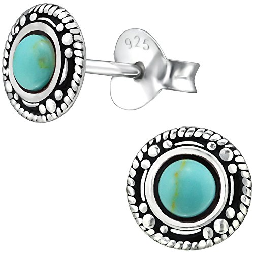 EYS JEWELRY Damen Ohrstecker rund 925 Sterling Silber oxidiert Türkis 7 mm grün-blau im Schmucketui Ohrringe
