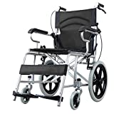 ACEDA Transport Wheelchair With Lightweight Thick Steel Frame,11Kg Folding Chair Is Portable,Front And Rear Brake,Seat Width 50Cm,Foot Pedal 3 Height Adjustable