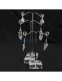 ELECTROPRIME 3PCS White Acrylic Jewelry Earring Display Plated Metal Stand Rack Holder