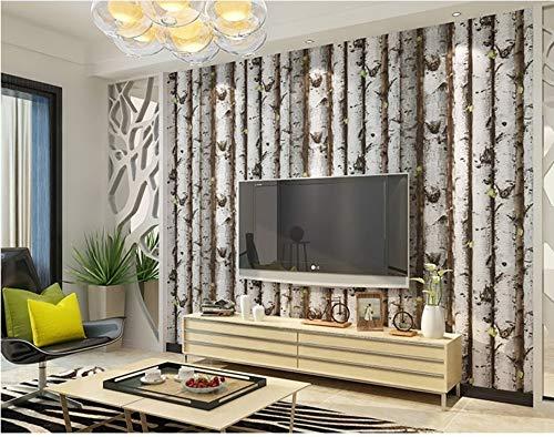 Jiangwei Tapete 3d Bäume Stapel Vintage natürliche rustikale gekörnten Effekt Holz Tree Panel Plank Vinyl -400cmx280cm -